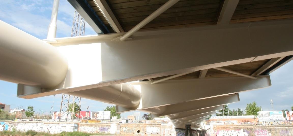 Passarel·la Amistat, footbridge, pasarela, Terrassa, Barcelona, Arco atirantado de acero, Asimetrica, Arc atirantat d'acer