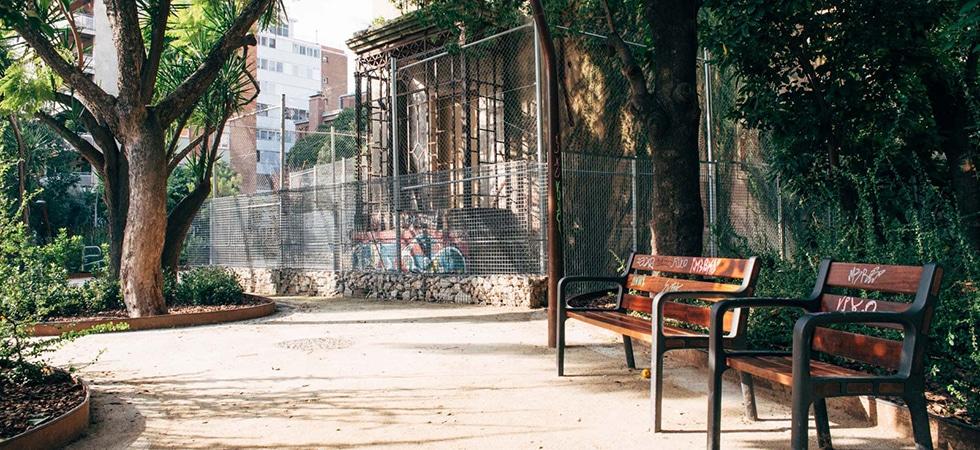 Jardins de Can Ferre, Barcelona, Sarrià-Sant Gervasi, BIM/SA, Enginyeria Reventós, Entrada, reurbanització, corten, saulo estabilitzat, suelo estabilizado, recuperacion