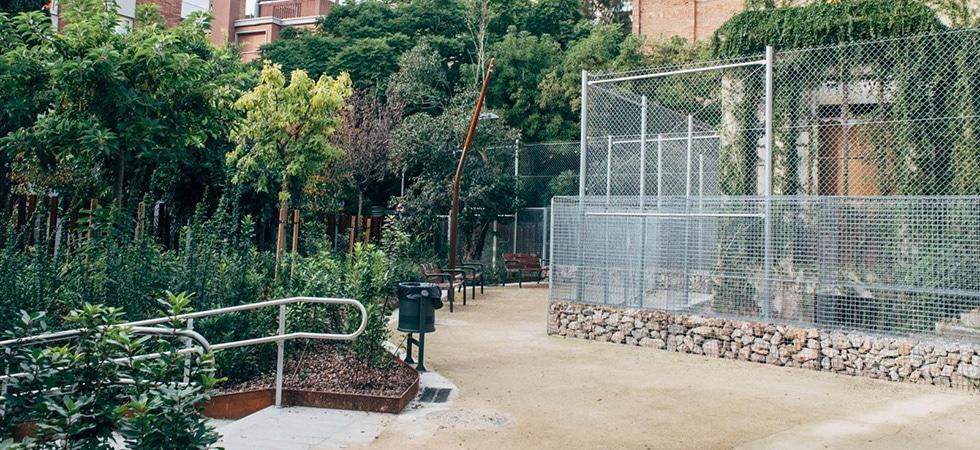 Jardins de Can Ferre, Barcelona, Sarrià-Sant Gervasi, BIM/SA, Enginyeria Reventós, Entrada, reurbanització, corten, saulo estabilitzat, suelo estabilizado, recuperacion, gabiones, gabions